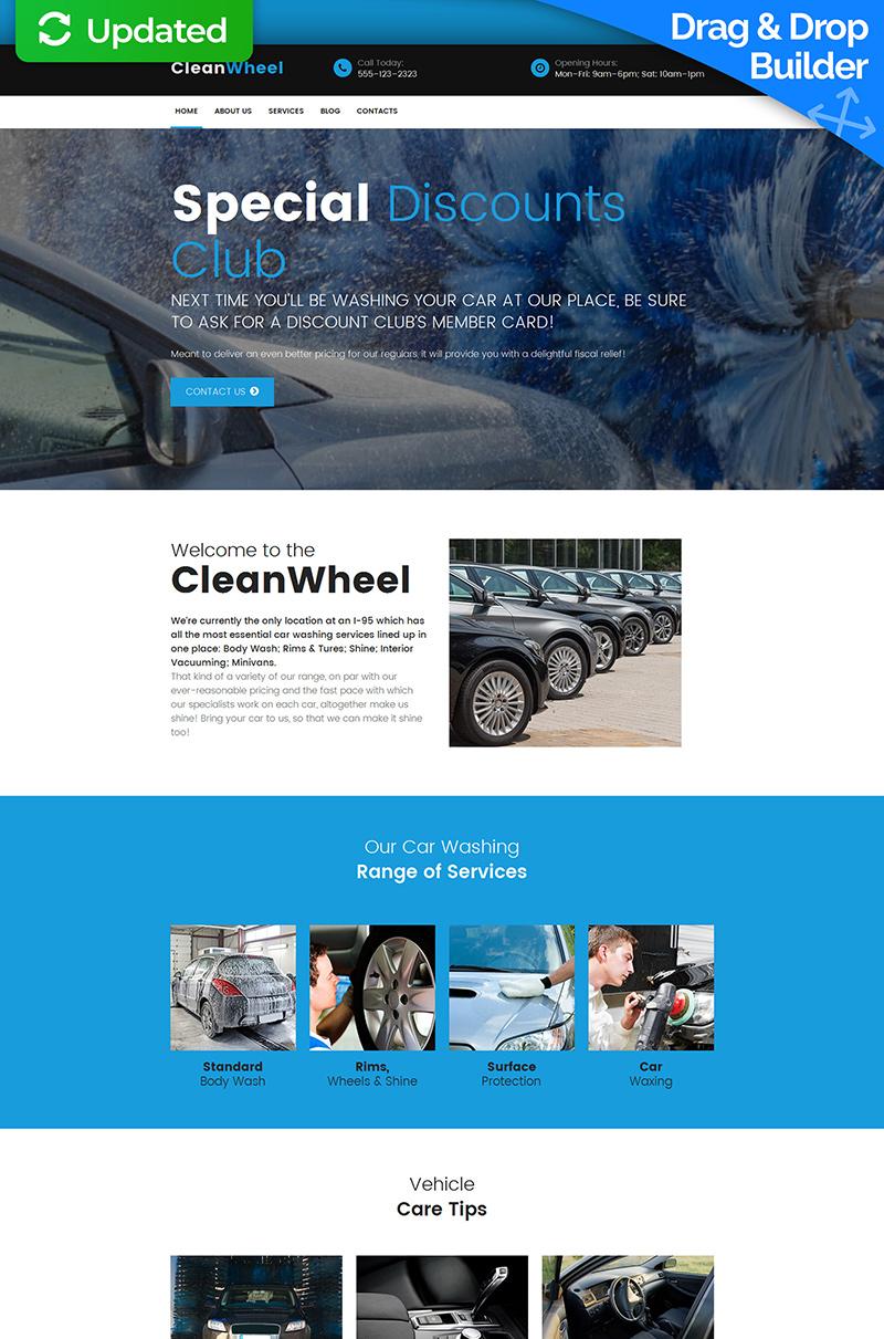 Responsives Moto CMS 3 Template für Autowäsche #59483