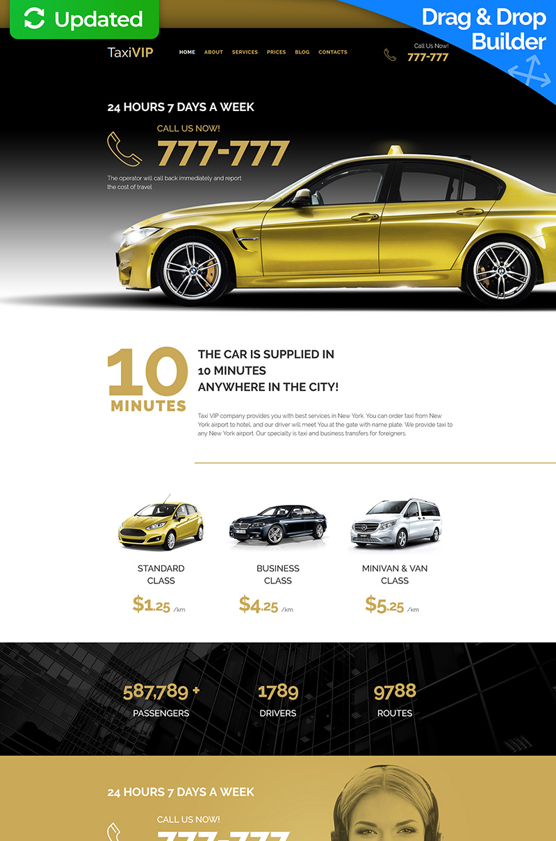 Responsives Moto CMS 3 Template für Taxi #59424