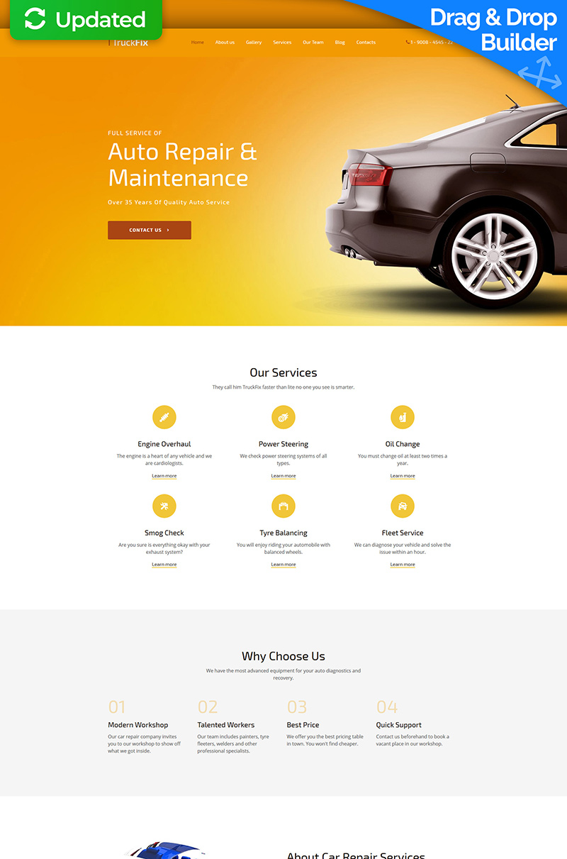"""Responzivní Moto CMS 3 šablona """"TruckFix - Premium"""" #59463"""
