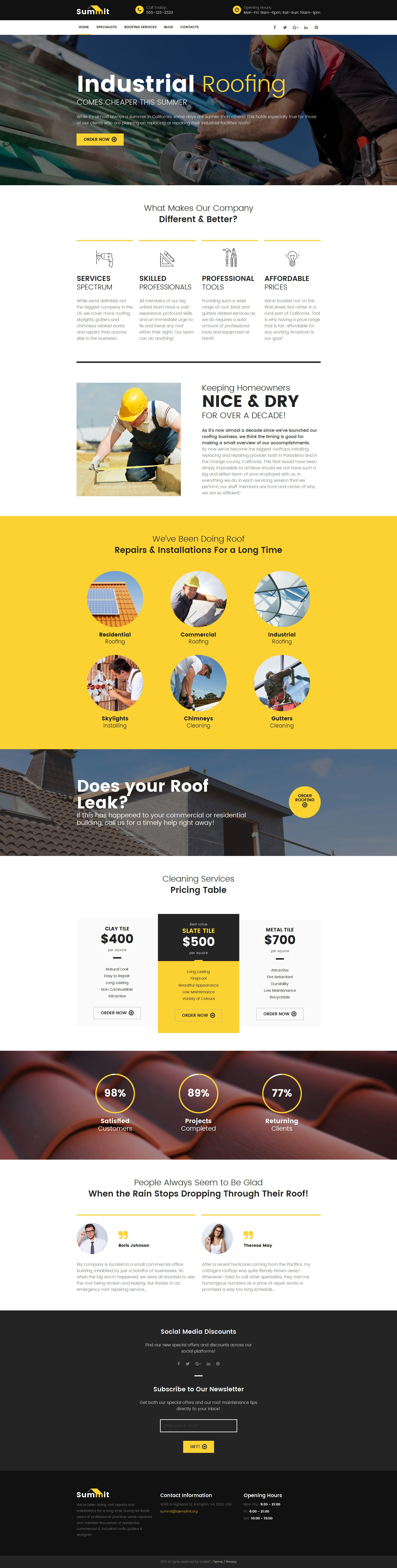 Roofing Company Responsive Moto CMS 3 Template
