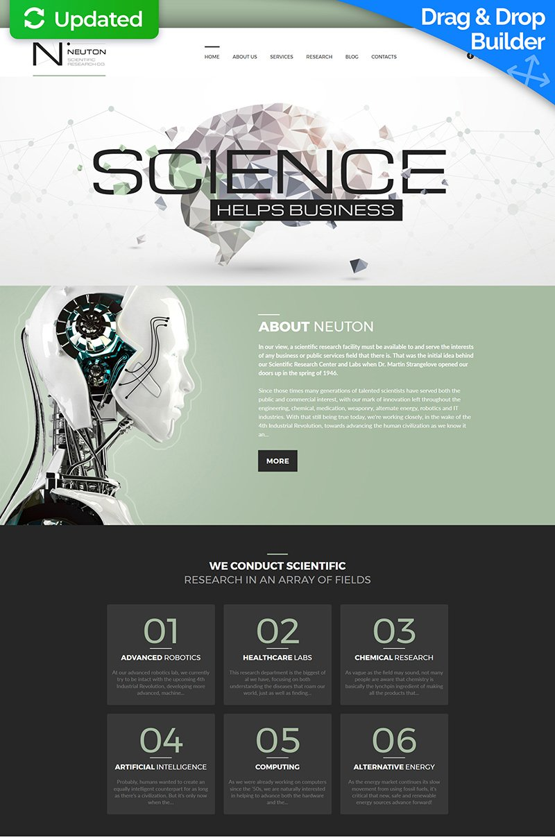 Science Lab Responsive Moto CMS 3 Template - screenshot