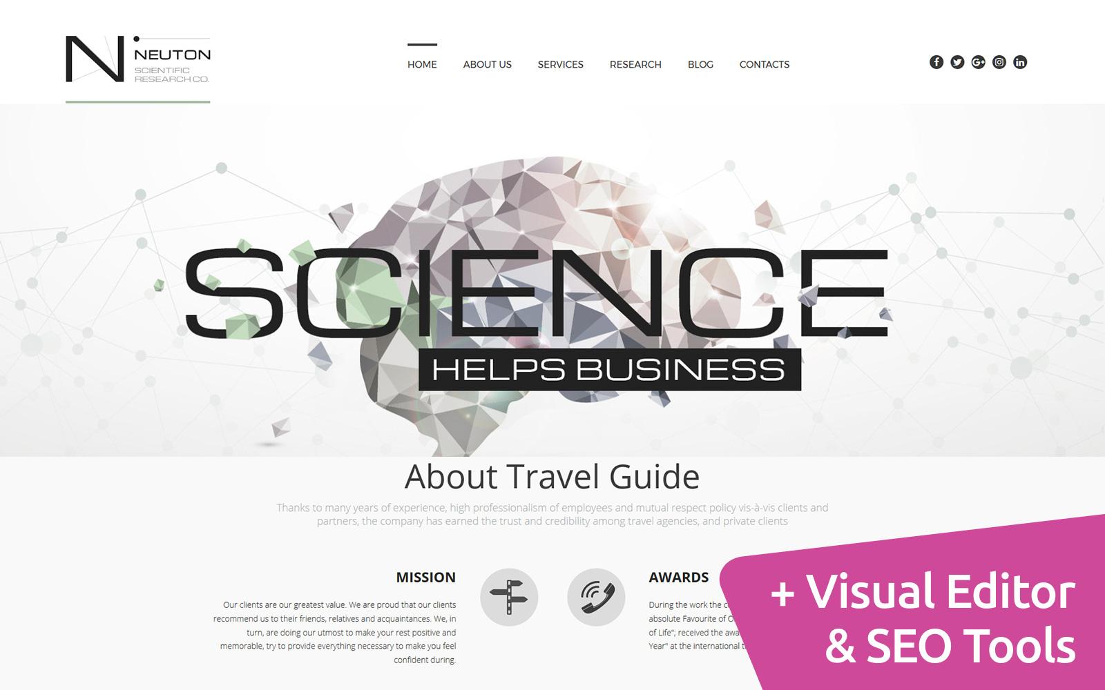 """""""Science Web"""" 响应式Moto CMS 3 模板 #59475"""