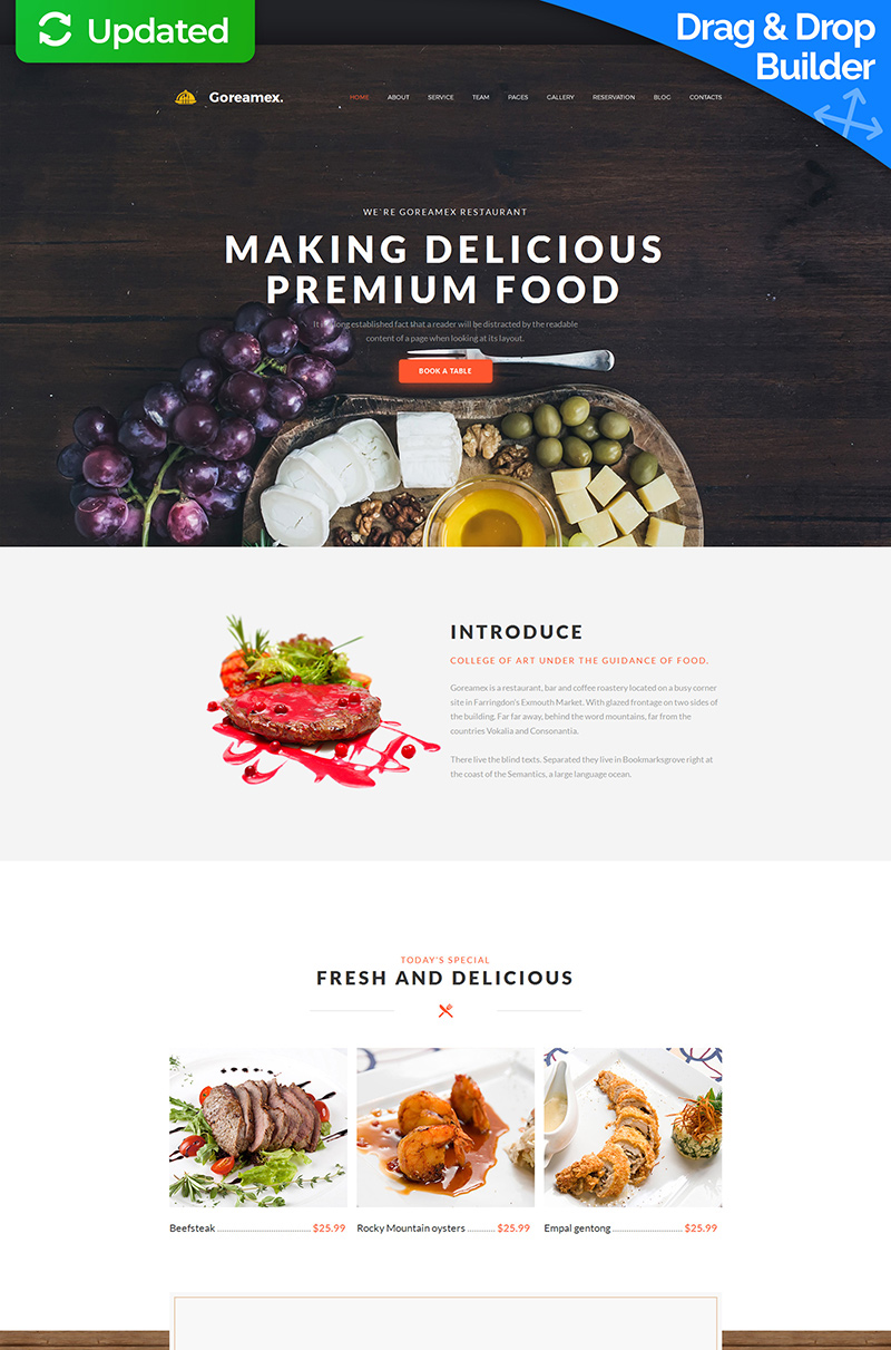 "Tema Moto CMS 3 Responsive #59457 ""Goreamex - European Restaurant Premium"""