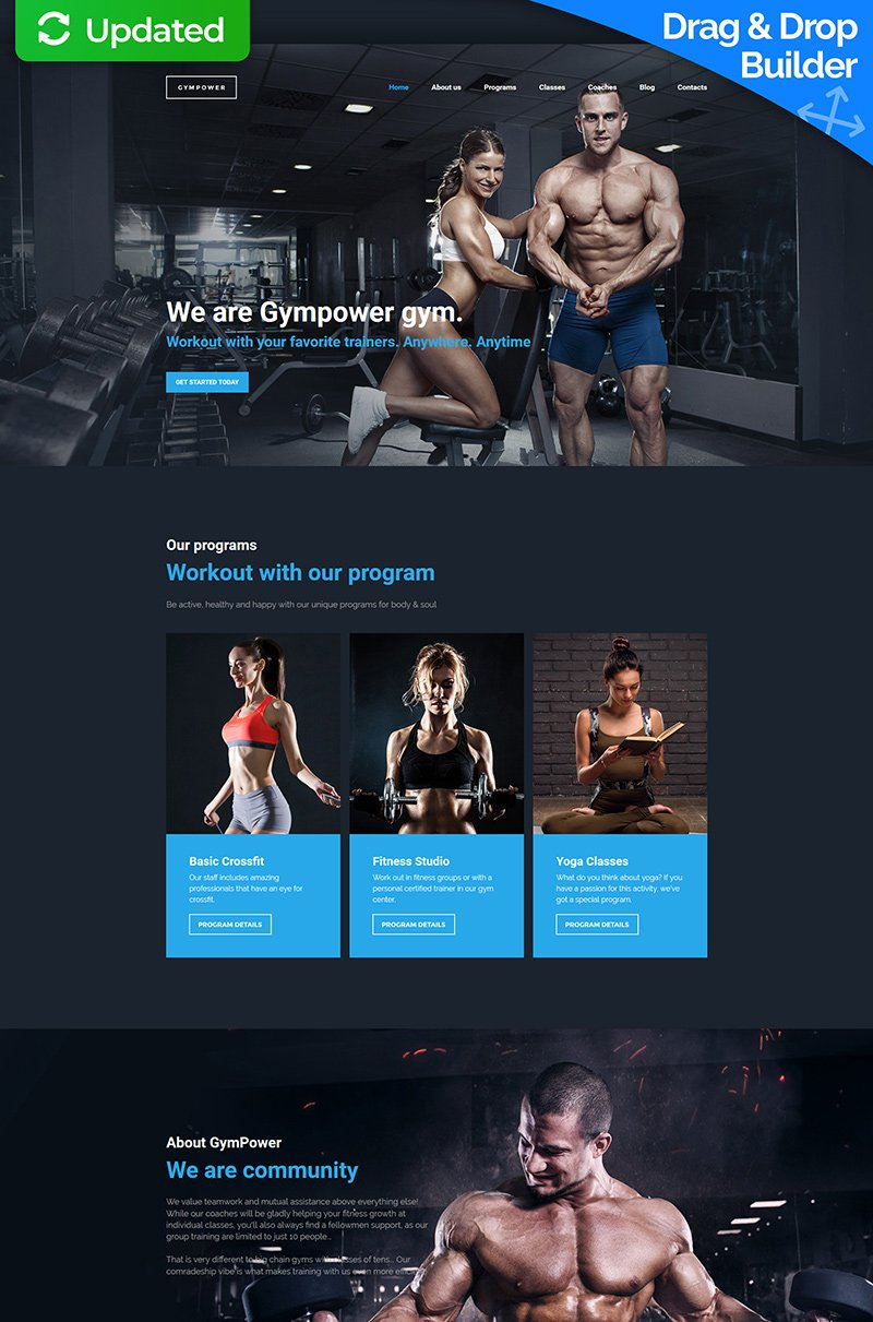 "Template Moto CMS 3 Responsive #59455 ""GymPower - Fitness & Bodybuilding Premium"""
