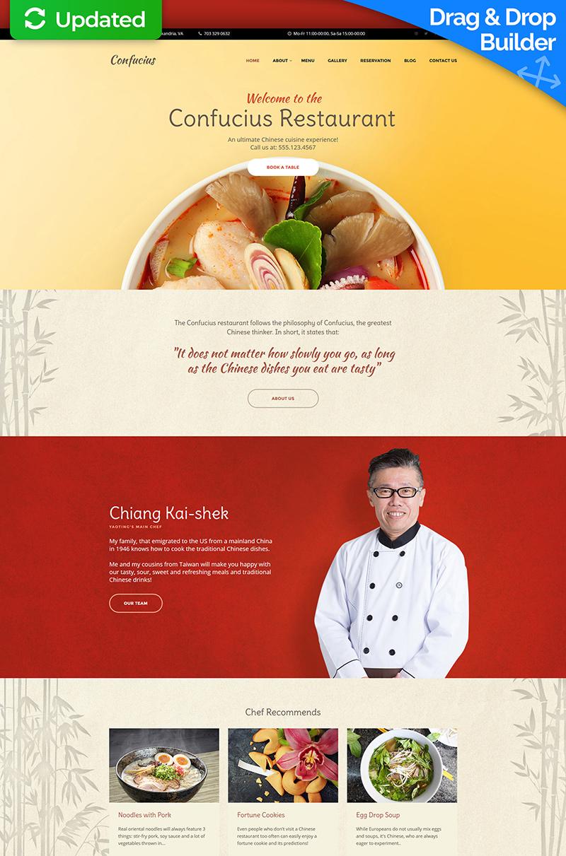 Templates Moto CMS 3 Flexível para Sites de Restaurante Chinês №59421