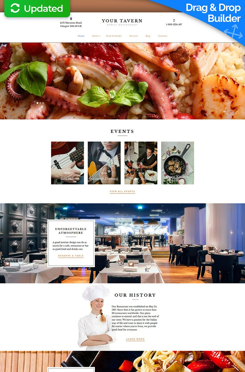 Templates Moto CMS 3 Flexível para Sites de Restaurante Europeu №59435