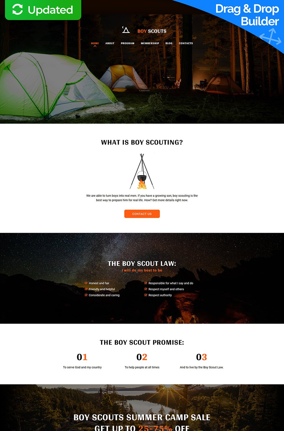 Boy Scouts Responsive Website Template - image