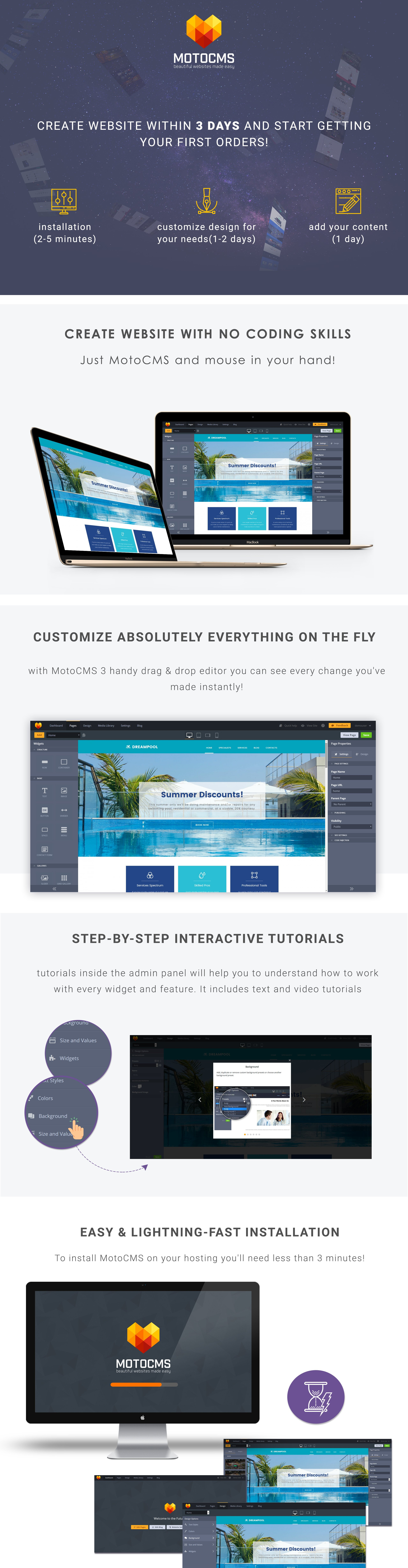 Dreampool Pool  Responsive Moto CMS 3 Template