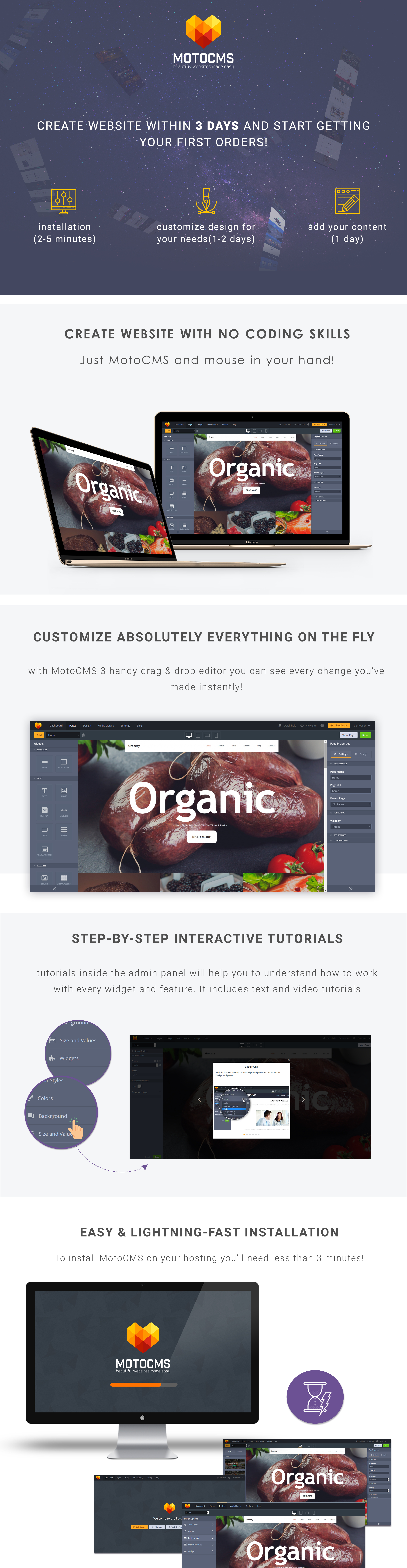 Grocery Food  Responsive Moto CMS 3 Template
