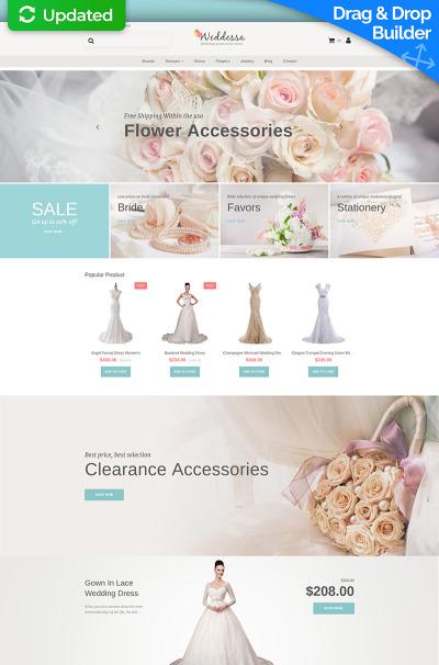 Bröllopsbutik Responsivt MotoCMS Ecommerce-mall
