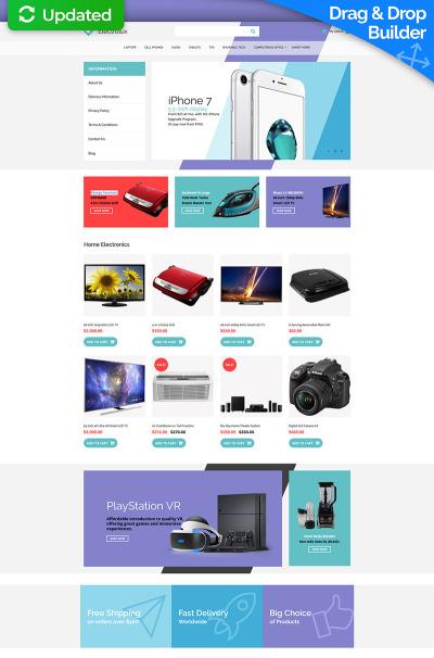 Elektronikbutik Responsivt MotoCMS Ecommerce-mall