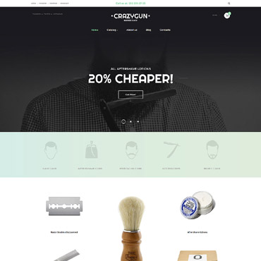 Купить VirtueMart шаблон товаров для бритья. Купить шаблон #59559 и создать сайт.