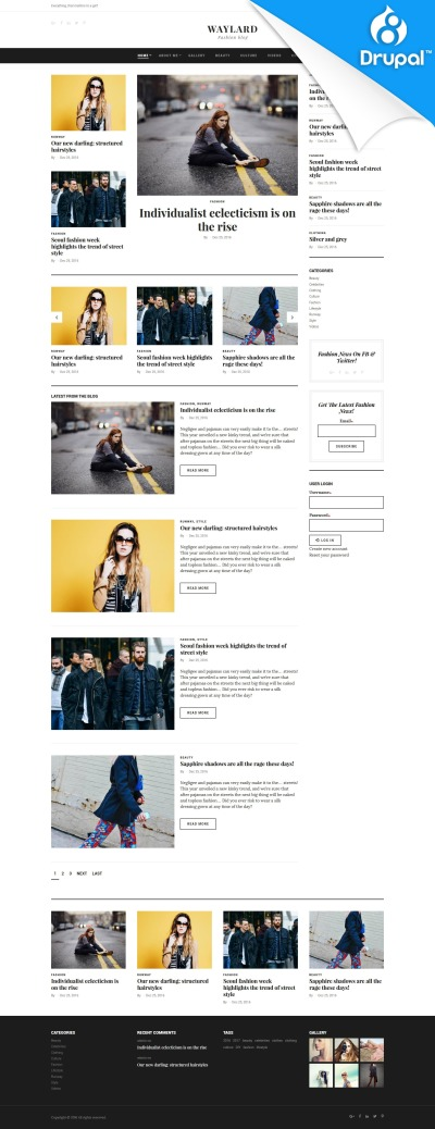 Адаптивный Drupal шаблон №59575 на тему блог о моде
