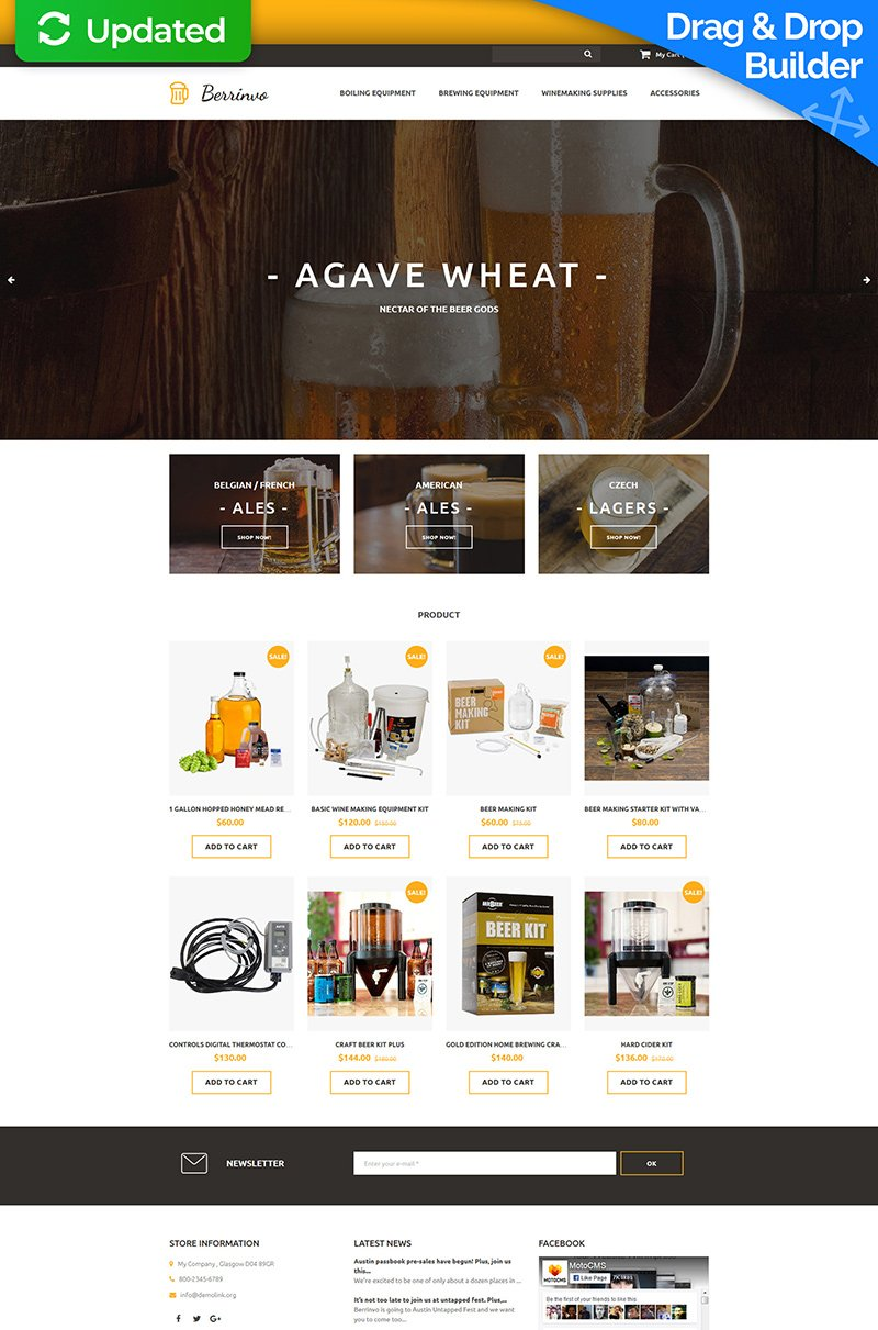 Brewery Responsive MotoCMS Ecommerce Template