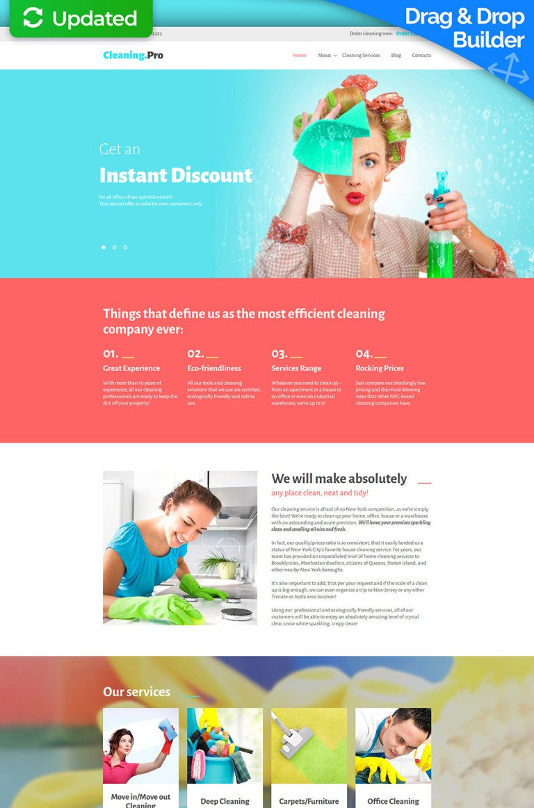 Cleaning & Maid Service Moto CMS 3 Template New Screenshots BIG