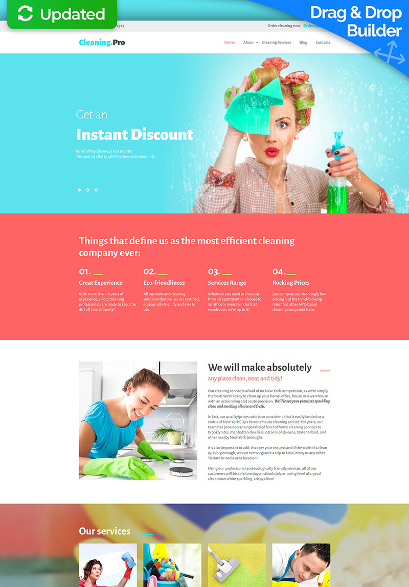 Cleaning & Maid Service Moto CMS 3 Template