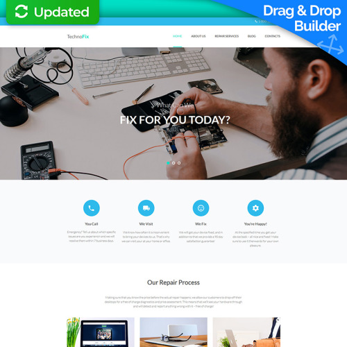 Computer Repair - MotoCMS 3 Template based on Bootstrap