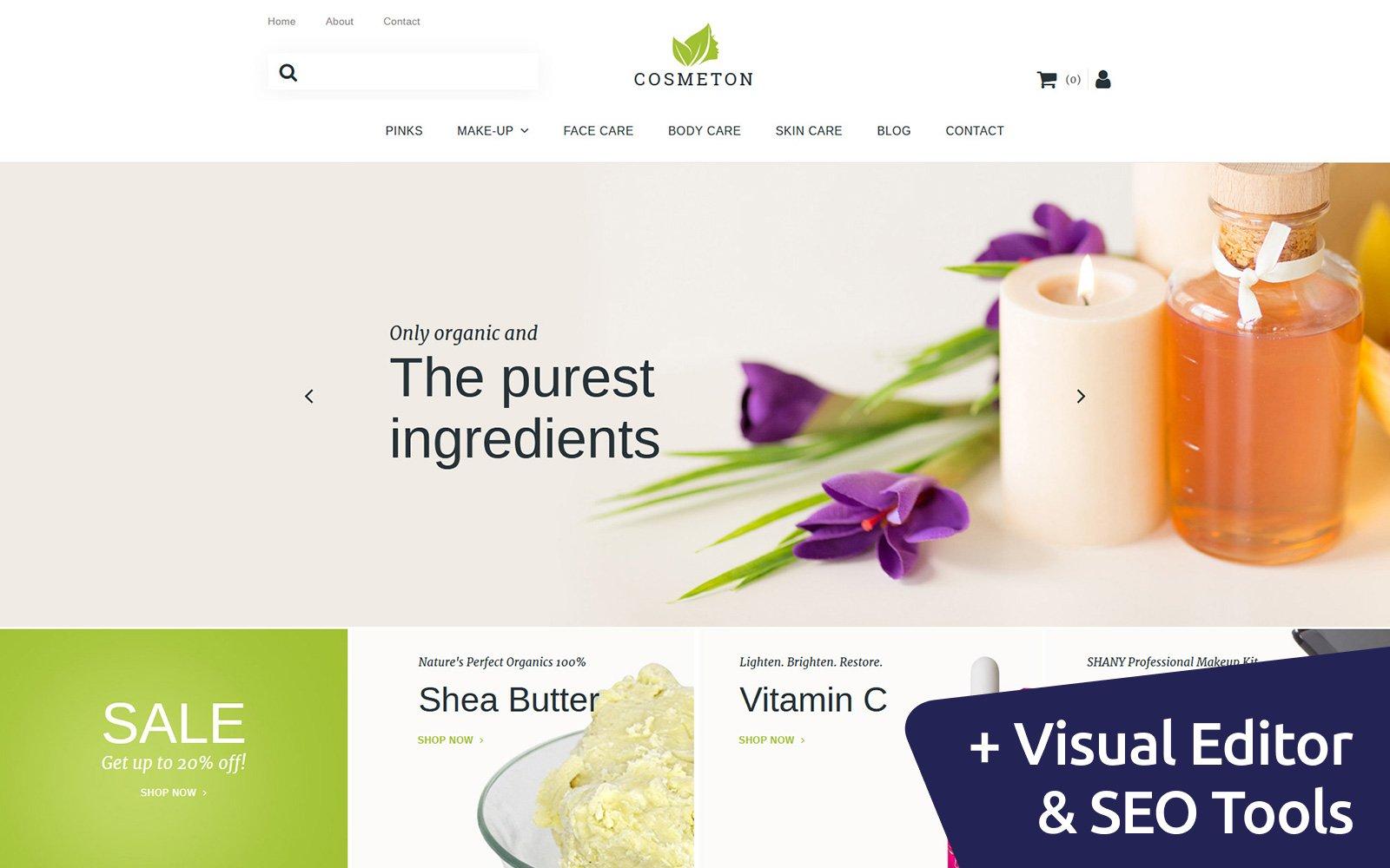 """""""Cosmeton - Skin Care Responsive"""" modèle MotoCMS pour commerce électronique adaptatif #59521"""