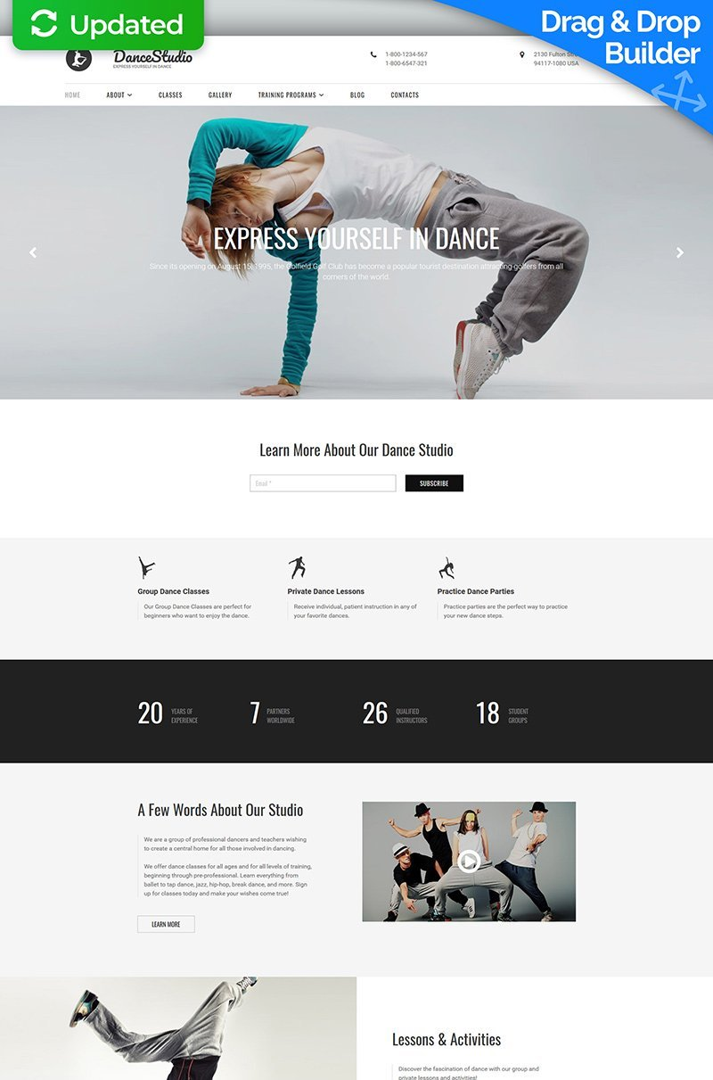 Dance Studio Responsive Moto CMS 3 Template