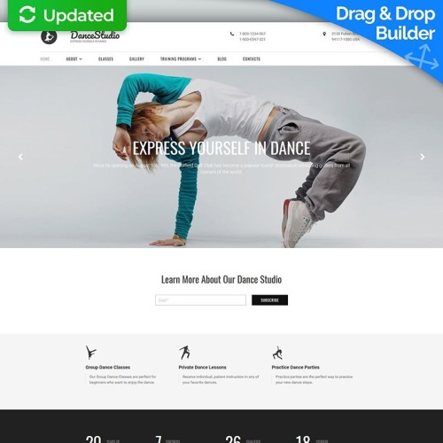 Dance Studio - MotoCMS 3 Template based on Bootstrap