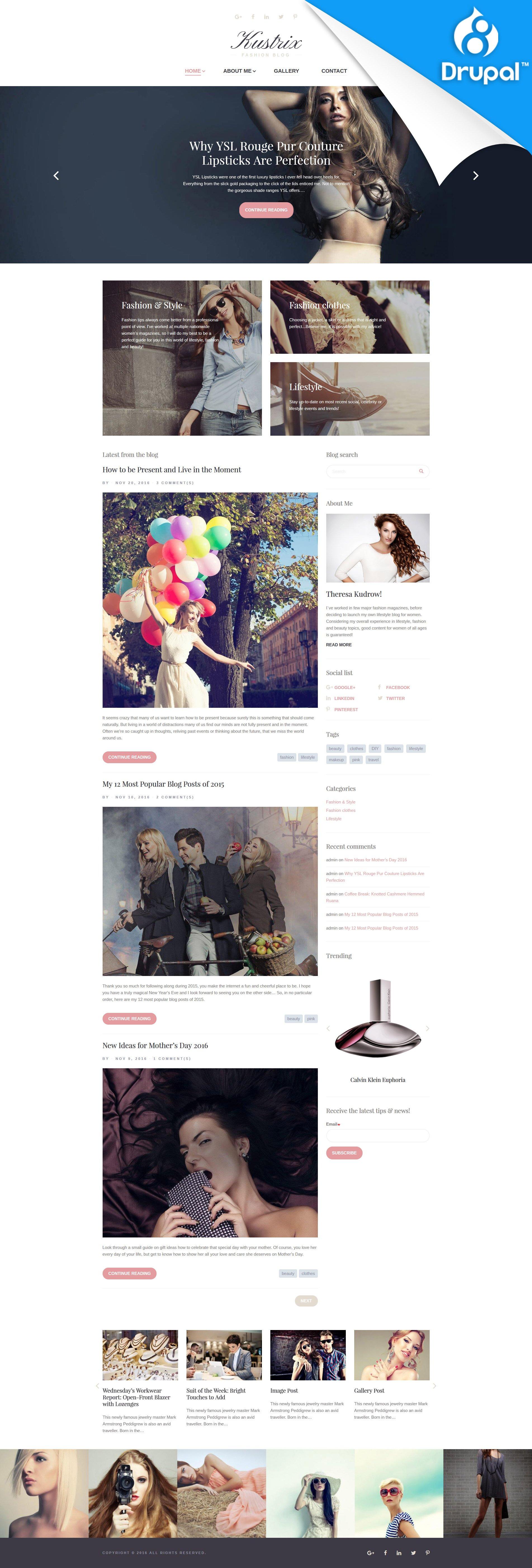 """Drupal Vorlage namens """"Kustrix - Mode und Lifestyle-Blog"""" #59573"""
