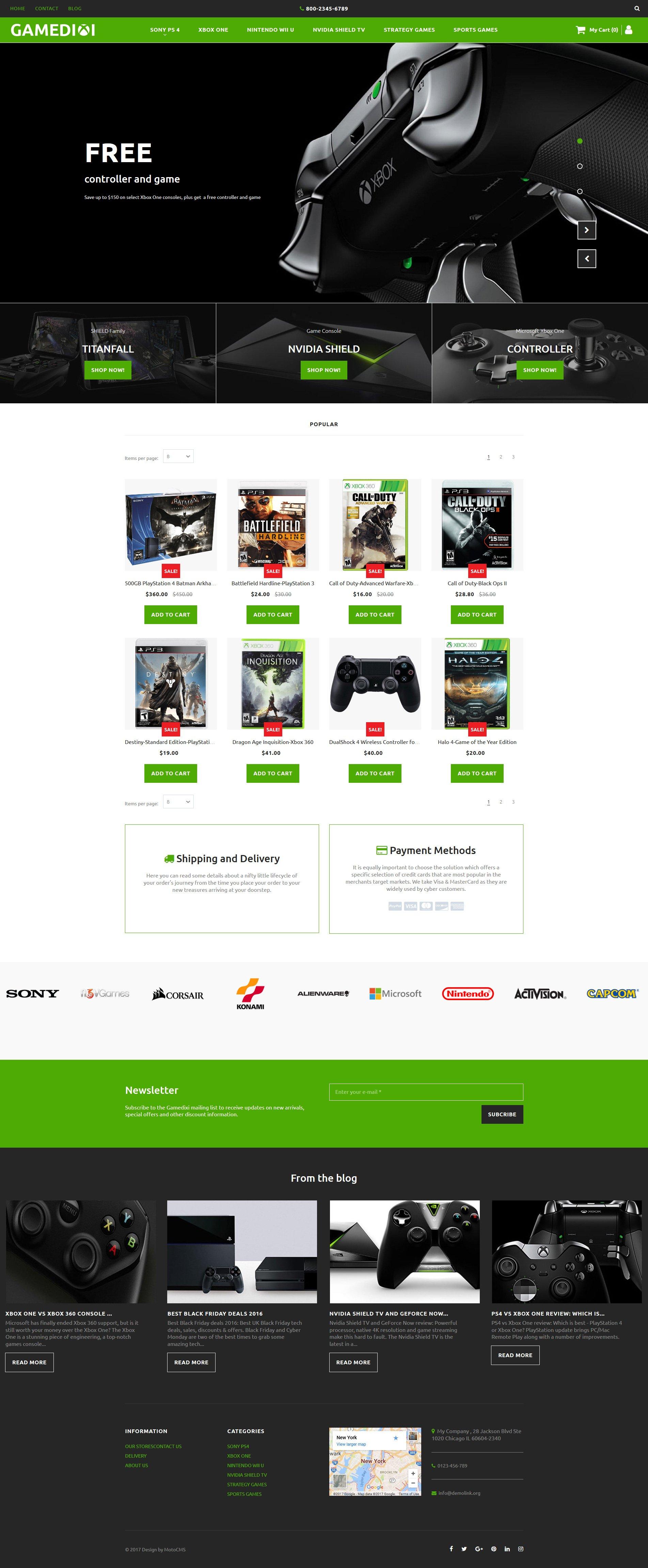 Game Portal Responsive MotoCMS Ecommerce Template