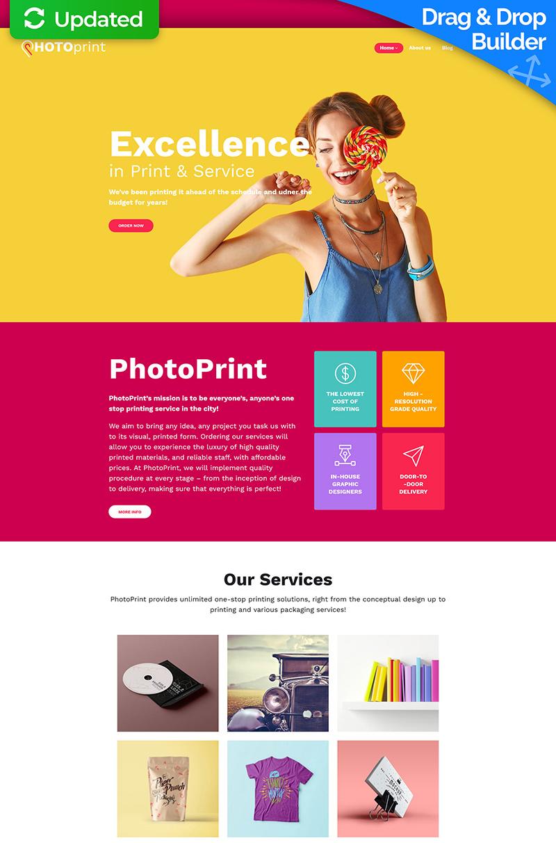 """Modello Moto CMS 3 Responsive #59510 """"Print Shop"""" - screenshot"""