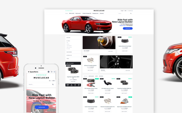Musclecar - Car Parts Responsive OpenCart Template New Screenshots BIG