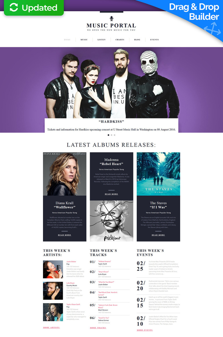 Music Portal Responsive Moto CMS 3 Template New Screenshots BIG