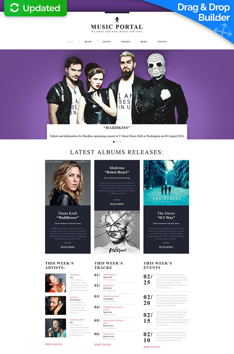 Music Portal Responsive Moto CMS 3 Template - screenshot