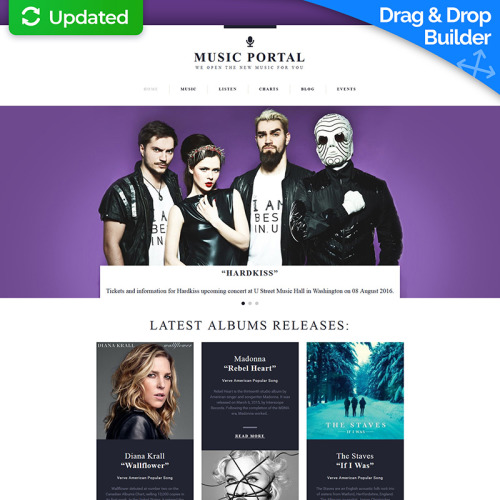 Music Portal - MotoCMS 3 Template based on Bootstrap