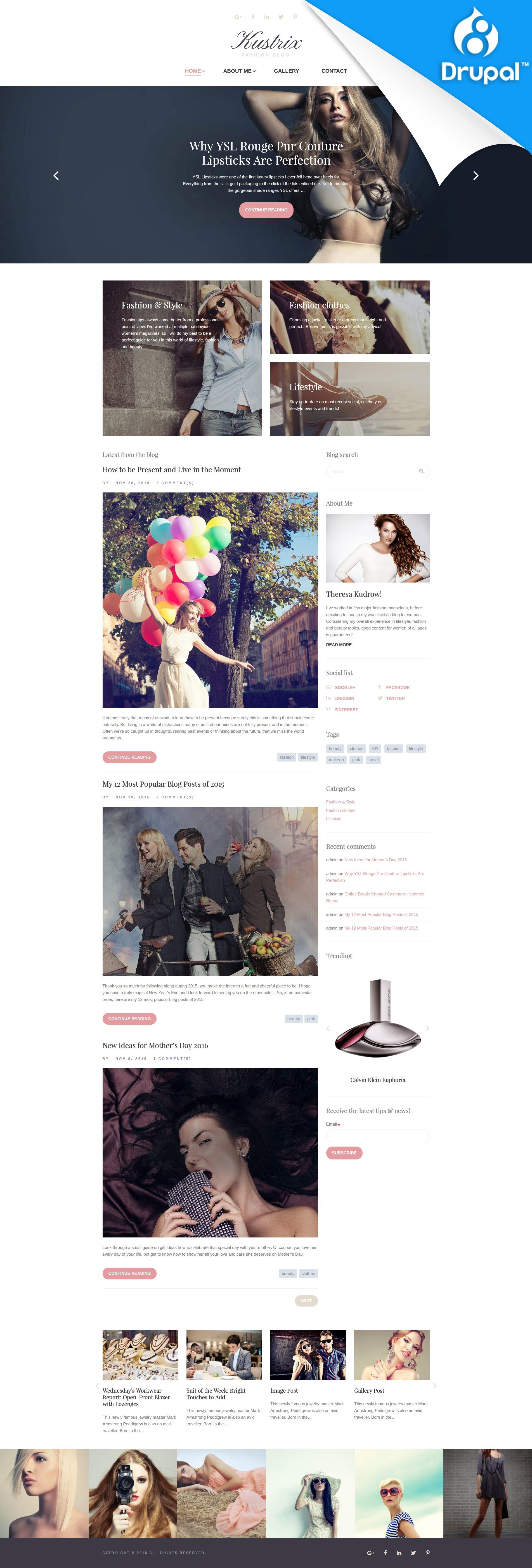 Responsivt Kustrix - Fashion & Lifestyle Blog Drupal-mall #59573