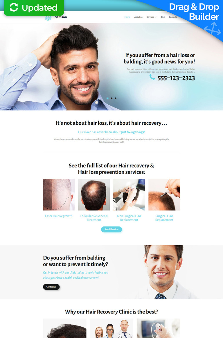 Samson - Hair Recovery Clinic Responsive Moto CMS 3 Template New Screenshots BIG