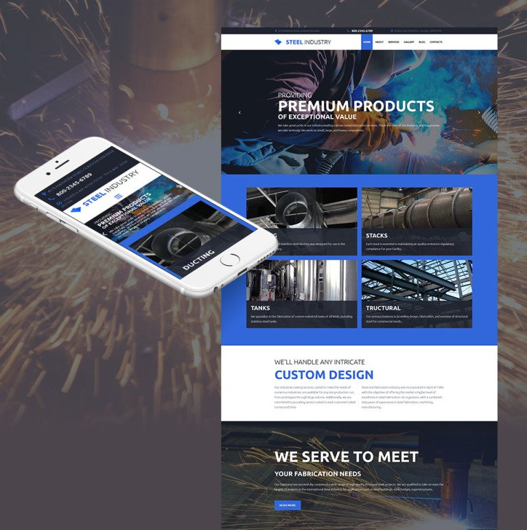 Steel Industry Responsive Moto CMS 3 Template New Screenshots BIG
