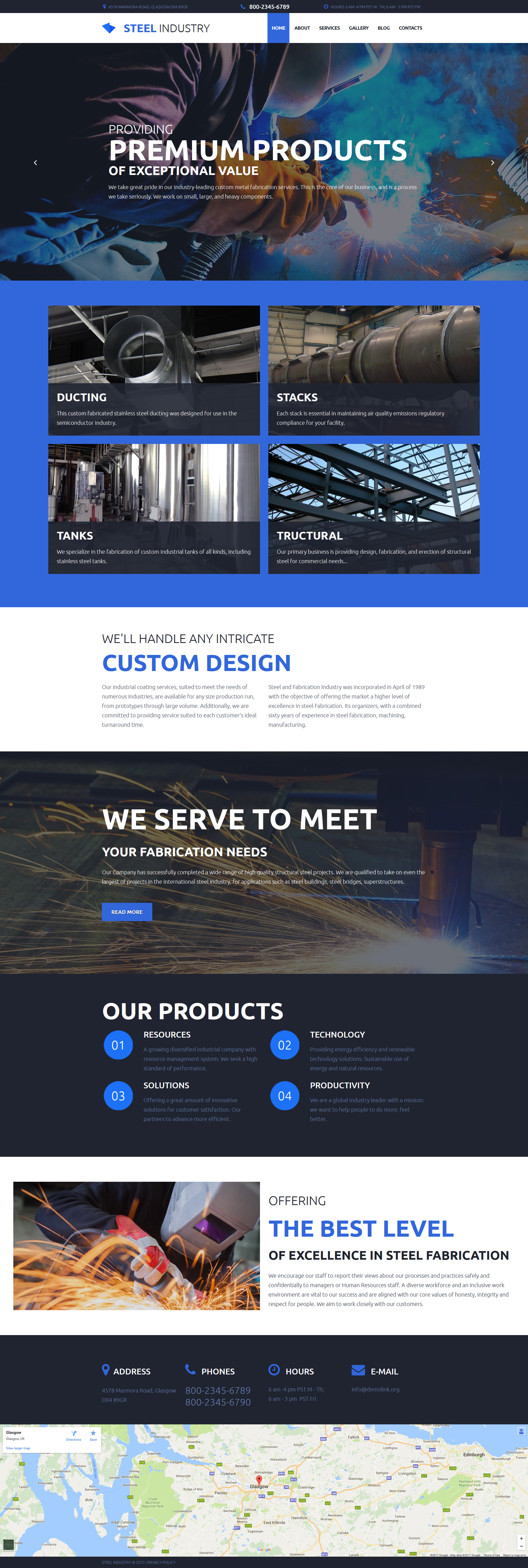 Source international products font stacking - Steel Industry Responsive Moto Cms 3 Template