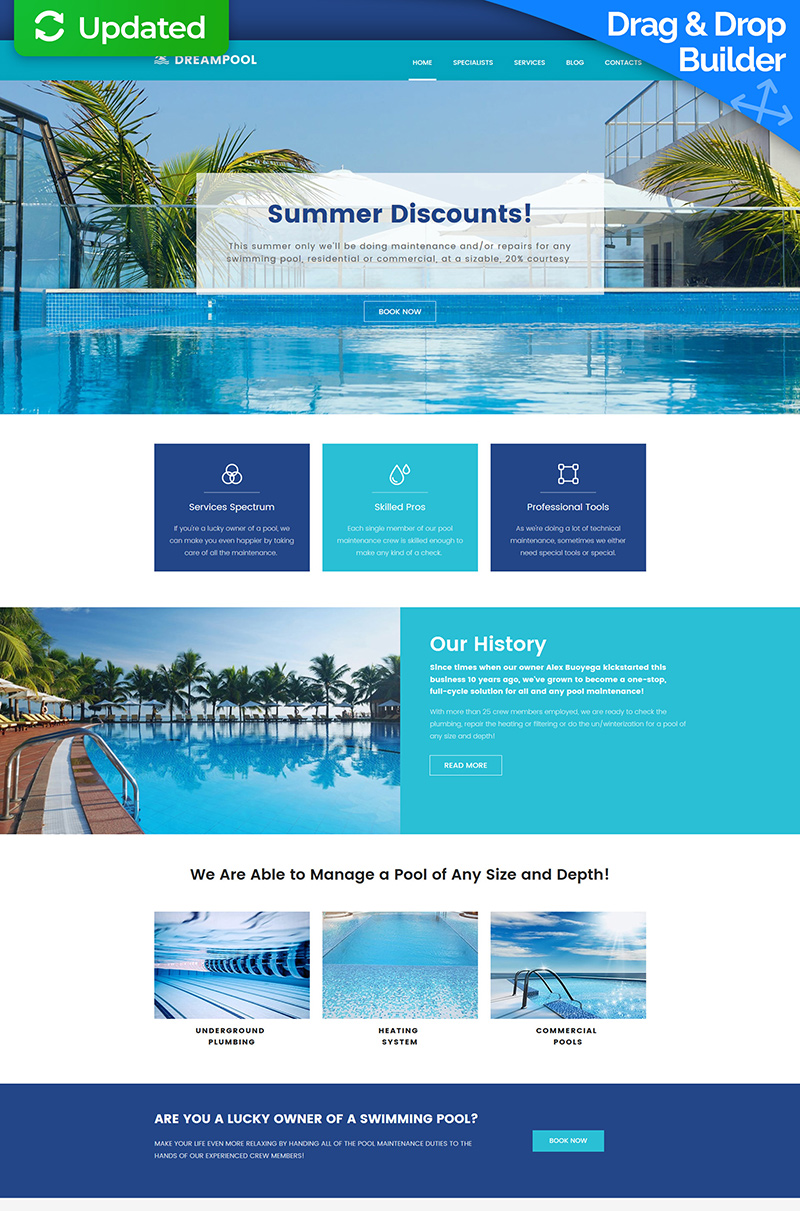 Swimming Pool Responsive Moto CMS 3 Template