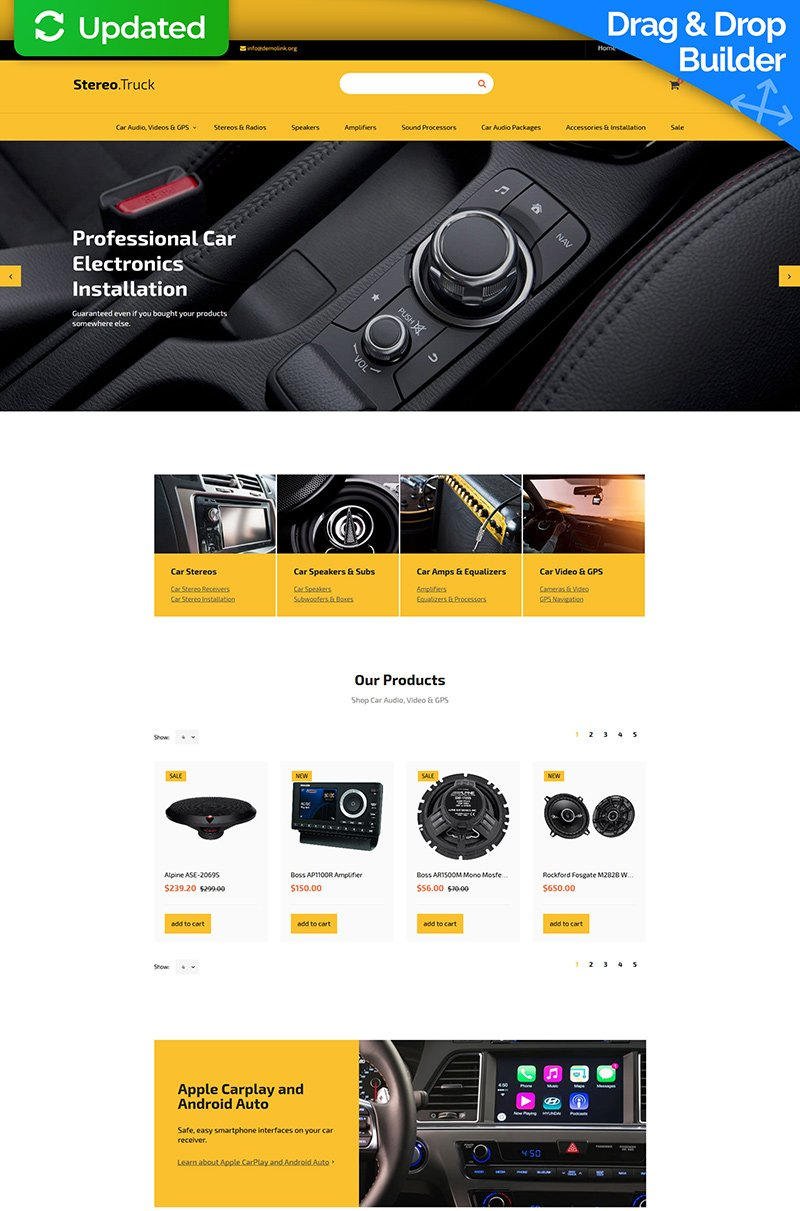 Template Ecommerce MotoCMS Flexível para Sites de Áudio para Carros №59529