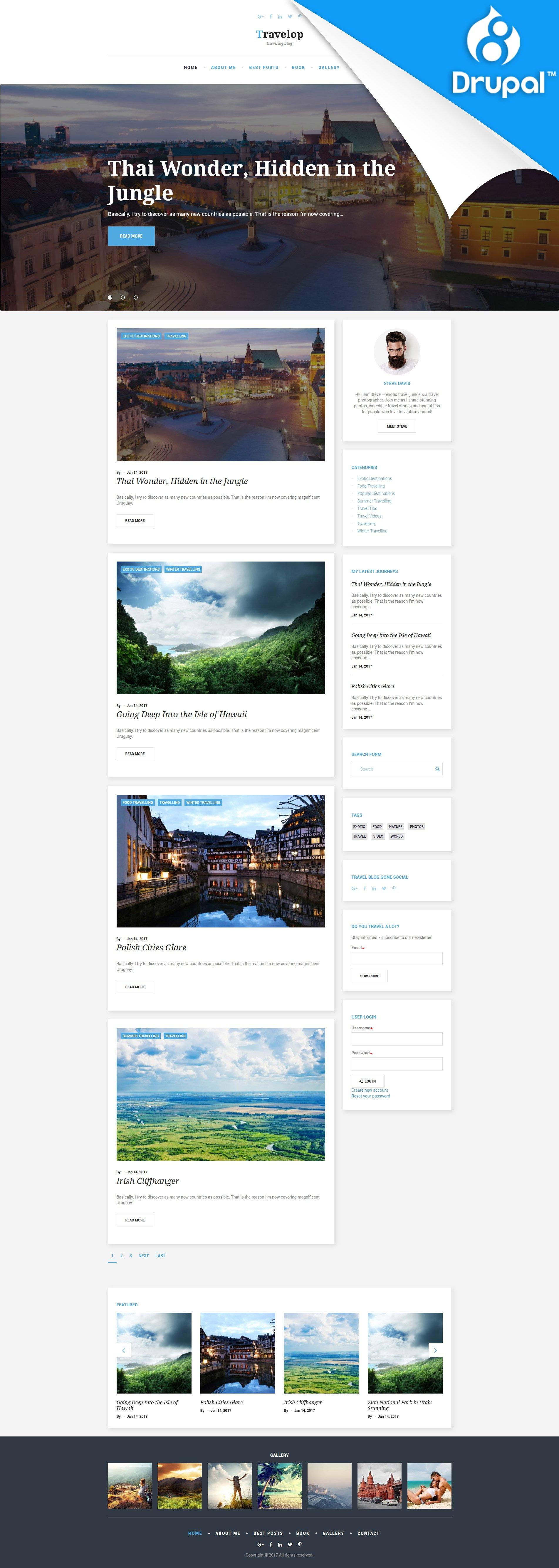 """Travelop - Traveling Blog"" - адаптивний Drupal шаблон №59576"