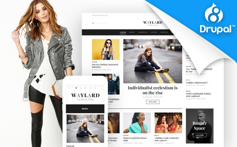 Waylard - Fashion Blog Drupal Template New Screenshots BIG