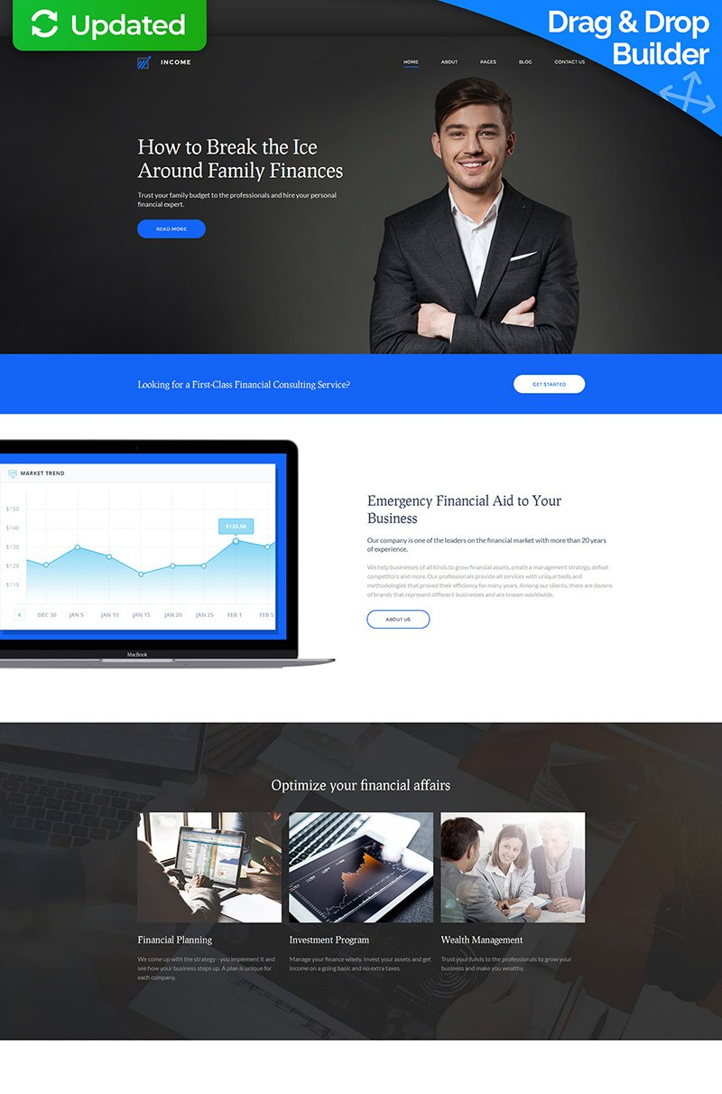 "Moto CMS 3 Template namens ""Income - Financial, Banking & Loan Company"" #59994"