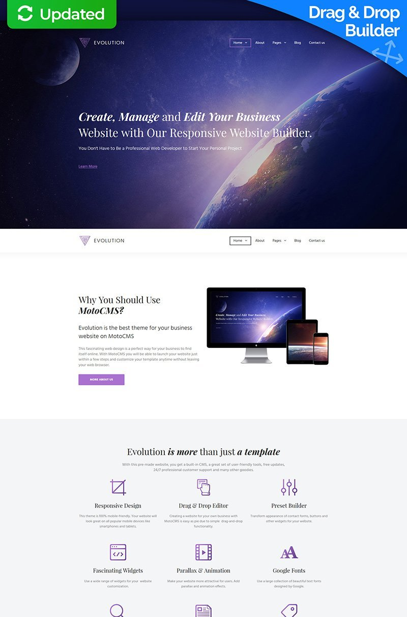 "Template Moto CMS 3 Responsive #59995 ""Evolution"""