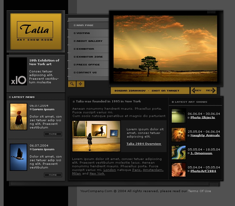 art gallery website template 6048 With art gallery html template