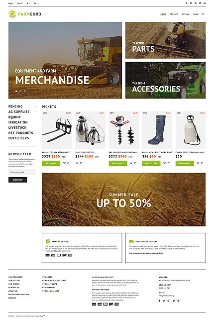 PrestaShop Main Page Screenshot
