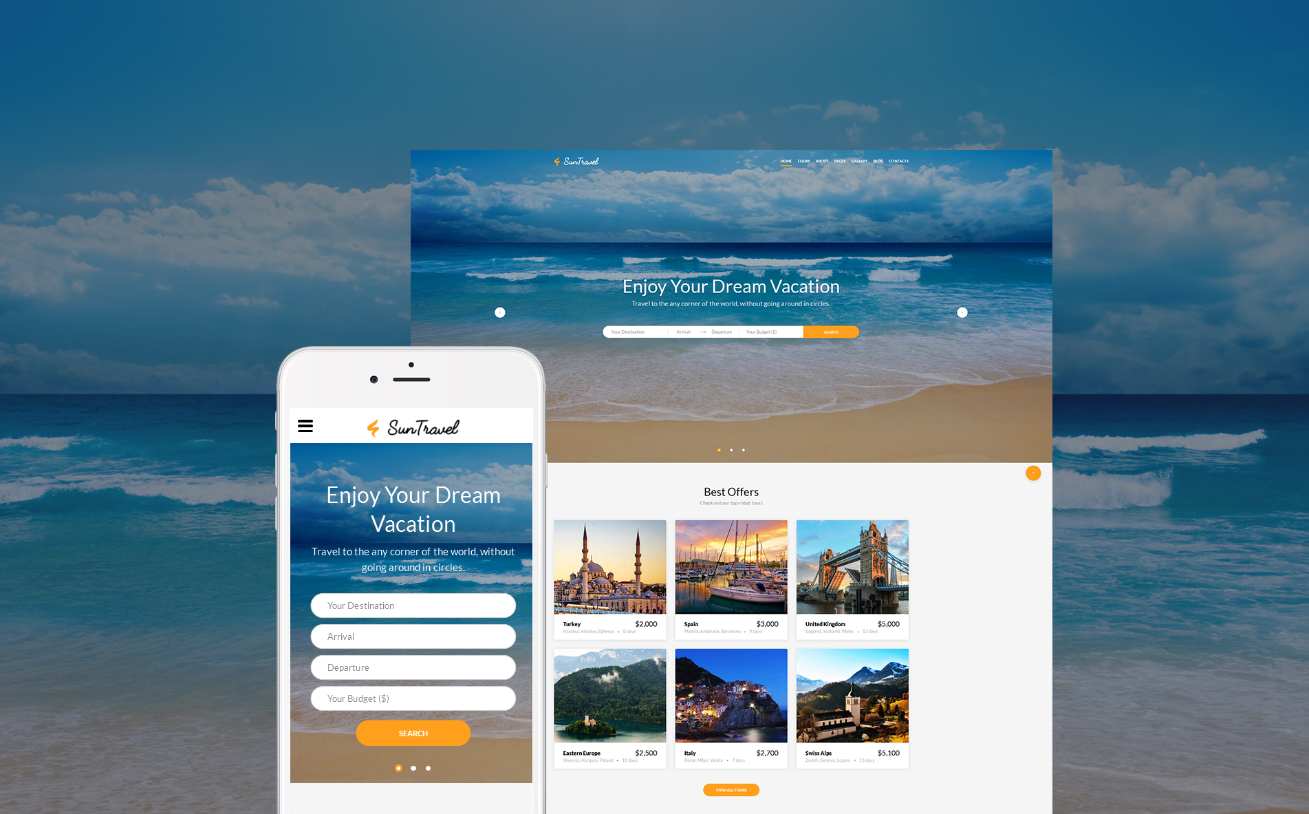 Sun Travel - Travel Agency Online template illustration image