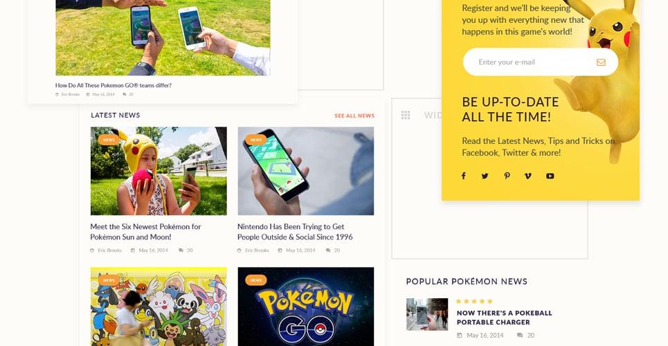 Pokemania - Game Portal Pokemon WordPress Theme