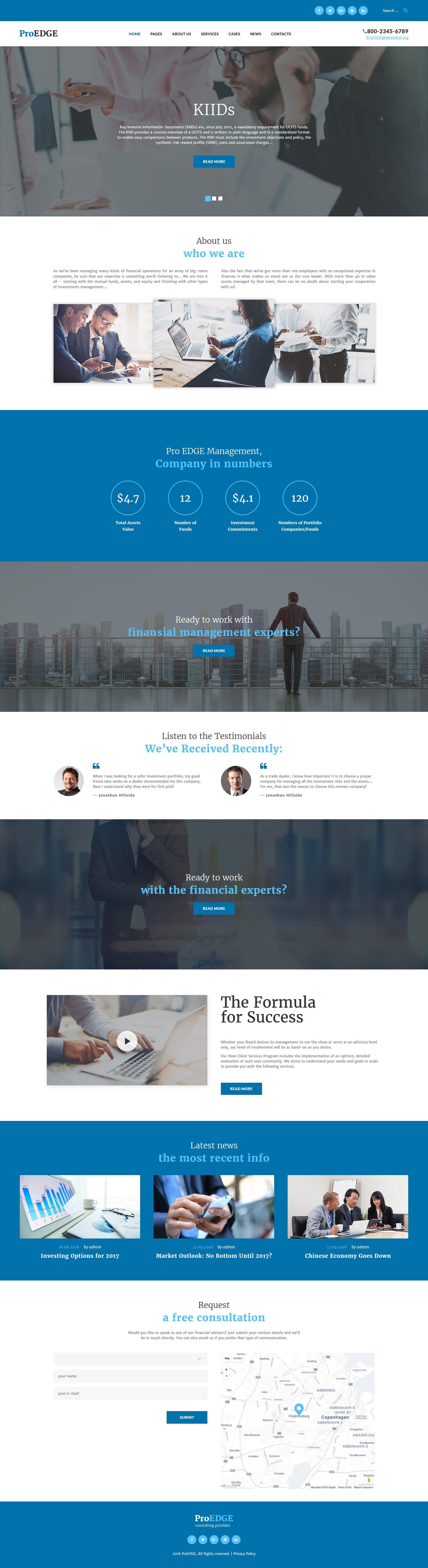 Адаптивный шаблон сайта на тему инвестиционная компания #60050