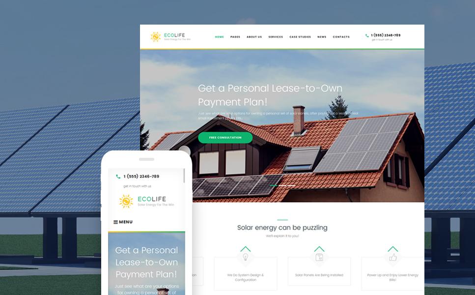 Адаптивный шаблон сайта на тему солнечная энергия #60051