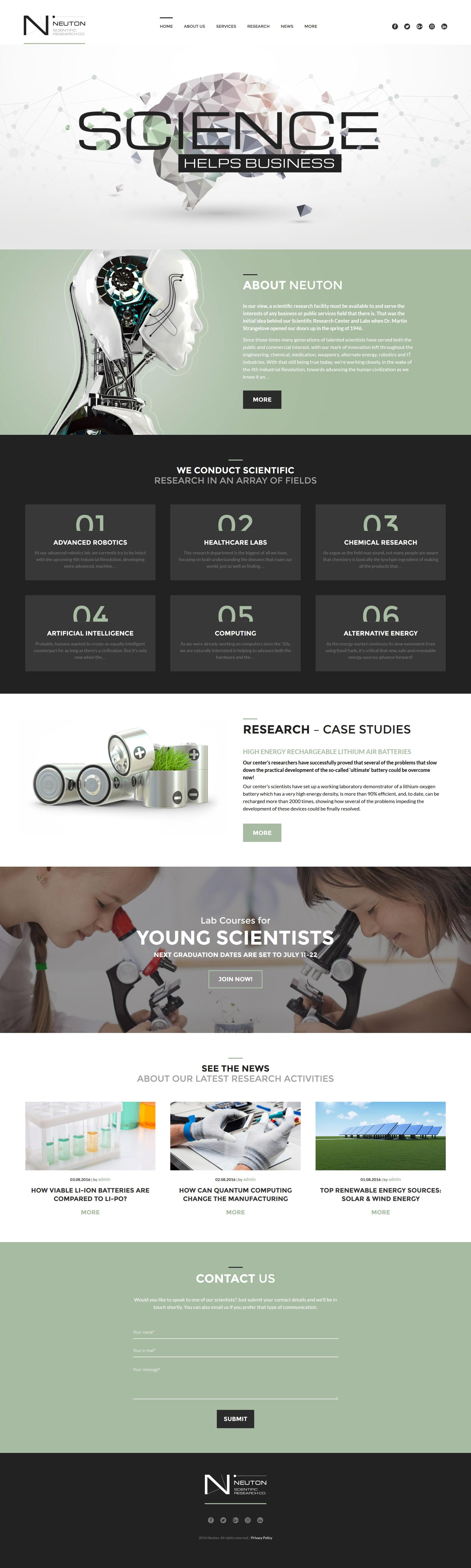 Адаптивный шаблон сайта на тему научная лаборатория #60052