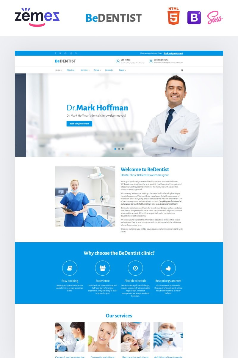 """BeDentist"" Responsive Website template №60036"