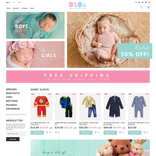 Bobo Baby Online Store - PrestaShop Template based on Bootstrap